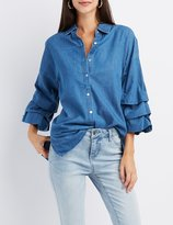 Charlotte Russe Chambray Ruched Sleeve Button-Up Shirt