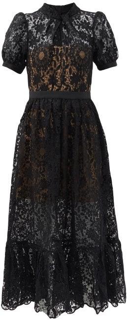 Self-Portrait Puff-sleeved Guipure-lace Dress - Black