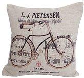 "Create For-Life Cotton Linen Decorative Pillowcase Throw Pillow Cushion Cover Square 18"" Retro Paris Pietersen Bicycle"