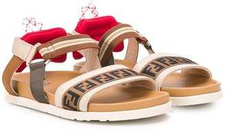 Fendi Kids FF logo-strap flat sandals