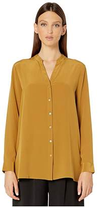 Eileen Fisher Silk Crepe De Chine Stand Collar Top (Arnica) Women's Clothing