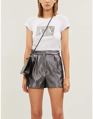 Armani Exchange Sequinned slim-fit cotton-jersey T-shirt