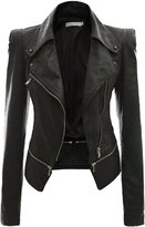 URqueen Women's Slim Motor Faux Leather Jacket Coat M