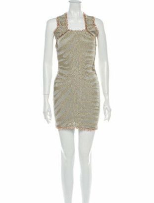 Herve Leger Square Neckline Mini Dress Silver