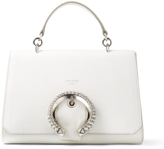 Jimmy Choo MADELINE TOPHANDLE Latte Calf Leather Top Handle Bag with Crystal Buckle