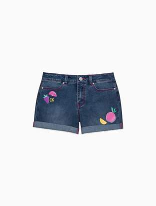 Calvin Klein Girls Fruit Denim Cuffed Shorts