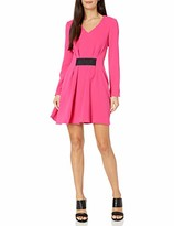Armani Exchange A|X Women's Long Sleeved Fit and Flare Dress with Waist Cincher