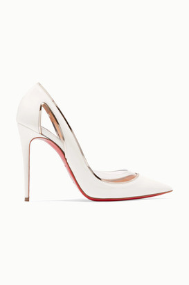 Christian Louboutin Cosmo 100 Metallic-trimmed Pvc And Patent-leather Pumps - White