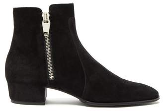 Balmain Mike Suede Ankle Boots - Mens - Black