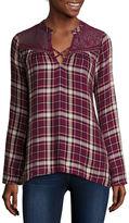 Self Esteem Long-Sleeve Plaid Lace-Yoke Flyaway Shirt - Juniors