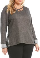 Democracy Plus X-Front V-Neckline Mix Media Sweater