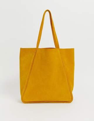 Accessorize Accessorzie ochre yellow leather minimal tote shopper bag