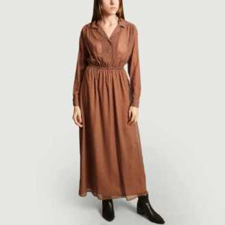 American Vintage Beige Polyester Inostate Long Sleeves Shirt Dress - polyester | beige | small - Beige