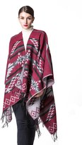 JURUAA Oversized Tassel Cashmere Pashmina Shawl Knitted Poncho Sweater