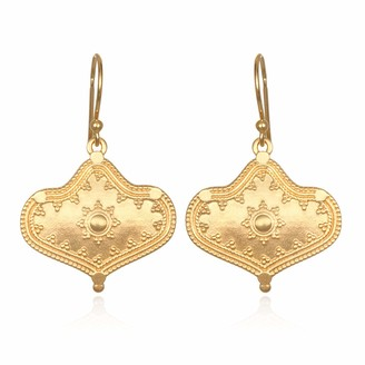 Satya Jewelry Gold Ornamented Drop Earrings One Size