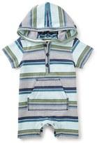 Tea Collection Infant Boy's Sanur Stripe Hooded Romper