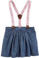 Osh Kosh Toddler Girl Floral Suspender Chambray Skirt