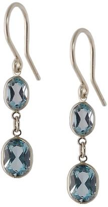Amy Holton Designs Large Two Stone Bezel Set Blue Topaz Earrings In 14 Karat White Gold