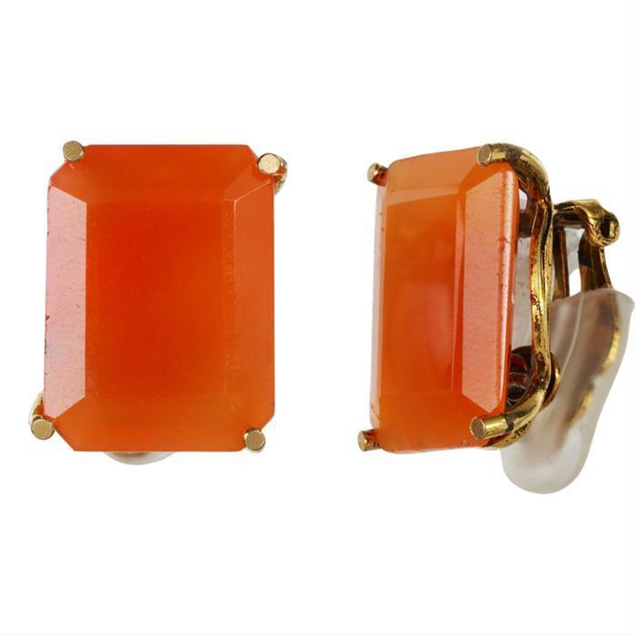 Bounkit Carnelian Gemstone Clip-On Earrings