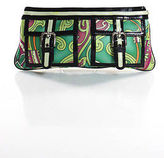 Isabella Fiore Green Paisley Black Patent Leather Trim Small Clutch Bag