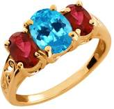 Gem Stone King 2.60 Ct Oval Swiss Blue Topaz and Garnet Gold Plated Sterling Silver Ring