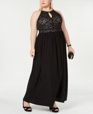 Morgan & Company Trendy Plus Size Lace-Bodice Gown