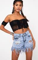 PrettyLittleThing Black Bardot Crochet Tie Top