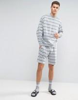 Asos Striped Sweatshirt & Short Set