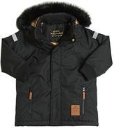 Mini Rodini Waterproof Nylon Ski Jacket W/ Faux Fur