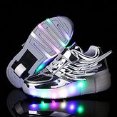 CPS Uforme Kids Fashion Sneakers Single Wheel Roller Skate Shoes Comfortable Mesh Surface LED Light Up Shoes