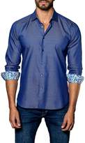 Jared Lang Pattern Woven Trim Fit Shirt