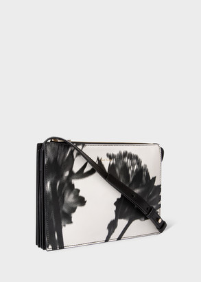 Paul Smith Women's Black and White 'Screen Print Floral' Leather 'Concertina' Cross-Body Bag