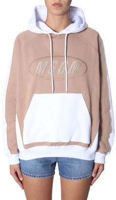 MSGM Embroidered Logo Colour Block Hoodie