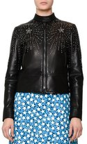 Valentino Embellished Leather Bomber Jacket, Black