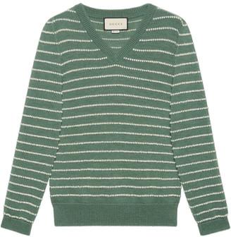 Gucci Striped alpaca wool V-neck sweater