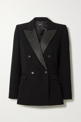 Isabel Marant Paryam Double-breasted Crystal-embellished Wool Blazer - Black