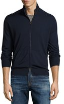 Luciano Barbera Stand-Collar Solid Zip-Front Cardigan, Navy