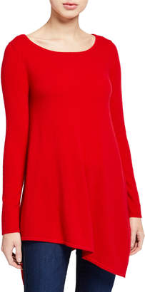 Neiman Marcus Boat-Neck Long-Sleeve Asymmetric Cashmere Sweater