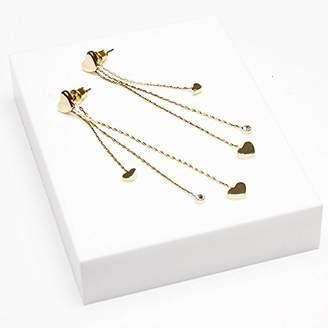 Johnny Loves Rosie Women 900 Platinum Glass Dangle & Heather Gold Heart Drop Earrings