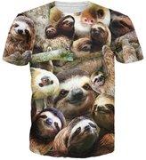 Chiclook Cool Harajuku 3D Sloth Collage T-Shirt Casual Swag Summer Tops T Shirt