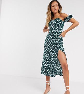 Fashion Union midi bardot dress with slit
