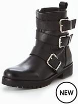 Very Jackie Leather Biker Boot - Black