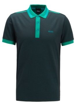 BOSS Regular-fit polo shirt with three-colour jacquard