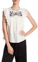 Blu Pepper Sleeveless Embroidered Blouse