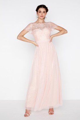 Little Mistress Esme Eyelash Lace Top Maxi Dress