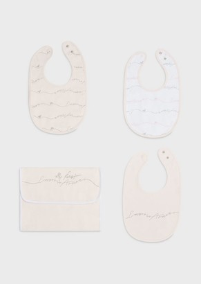 Emporio Armani Gift Set Of 3 Bibs With Pouch