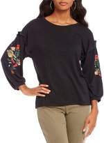 Gibson & Latimer Embroidered Sleeve Top