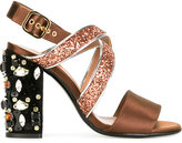 Marni embellished glitter sandals - women - Silk/Leather/Crystal/PVC - 37