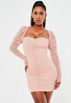 Missguided Blush Mesh Ruched Mini Dress