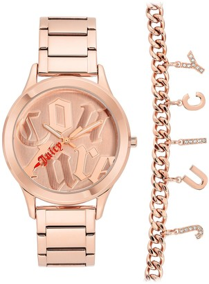 Juicy Couture Women's Rose Gold-Tone Bracelet 2-Piece Set Watch, 38.5mm